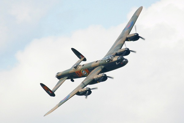 Lancaster bomber flying