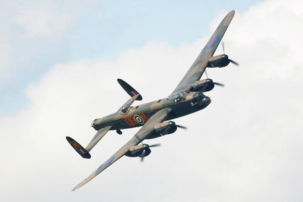 Lancaster bomber flying