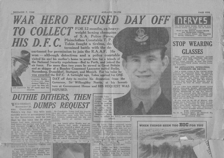 Newspaper featuring Tobin