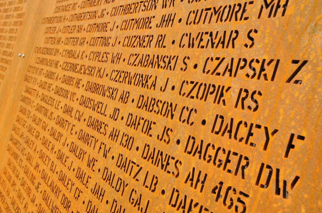 Close up of names on the Walls of Remembrance