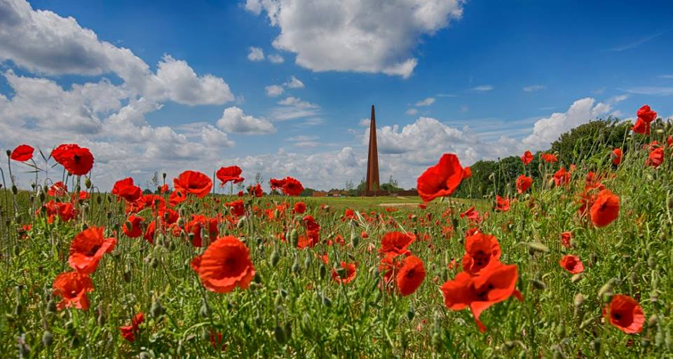 The International Bomber Command Centre in a field of poppies